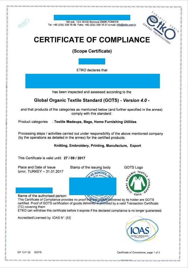 Esempio di Certificato GOTS
